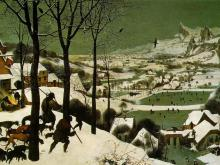 Bruegel's The Hunters in the Snow (1595, now in the Kunsthistorisches Museum, Vienna)